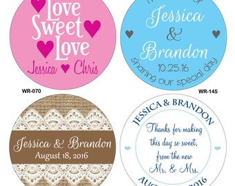 144 - 2.5 inch Glossy Waterproof Wedding Stickers Labels - hundreds of designs to choose from - change designs to any color or wording
