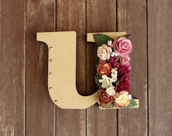 Floral Decorated Wooden Letter - lowercase u / wall nursery birthday wedding office decor
