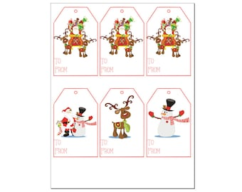 Christmas gift tags - Santa, Snowman and Reindeer