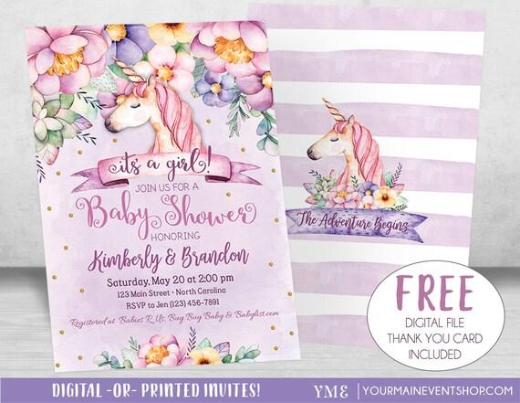 Unicorn Baby Shower Invitation, Girl Baby Shower, Magical Floral Baby Shower Invite, Purple, Gold, Pink, Unicorn Invitation