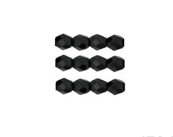 JET: 3mm Faceted Round Firepolish Czech Glass Beads (50 beads per strand)