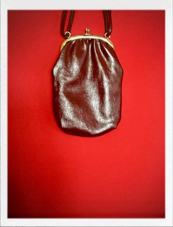 Vintage Pleather Shoulder Bag with Brass Finish Closure