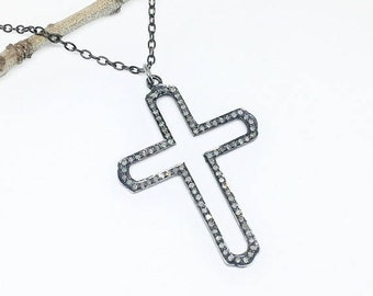 ON SALE Pave Diamond Cross Pendant/  necklaces set in sterling silver 925. Length- 2 inches. Diamond Carat weight - 1.35