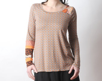 Long sleeved top, Orange patterned top, Womens clothing, Floral tee, Jersey top, MALAM, size UK 14
