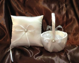 All ivory or all white custom made flower girl basket and pillow