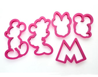 5pc Cartoon Cookie Cutters and Presser. Mickey Cutters. Minnie Cutters. Fondant Cutters. GumPaste Cutters. Dessert Table. Birthday.