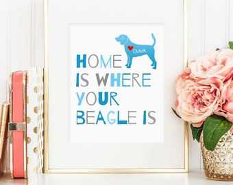 Beagle art print, personalized beagle print for your beagle, personalized beagle dog printable, dog wall art, gift for dog owners (JPG)