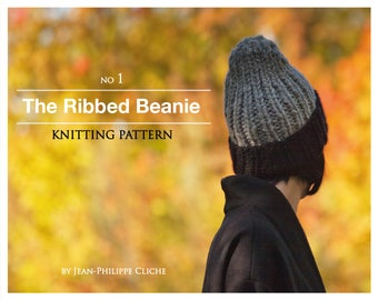 The Ribbed Beanie - A Knitting pattern only (not finished hat) (Provided in English and in French)