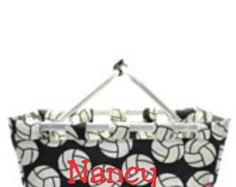 Open Collapsible Market Tote in Black and White Volleyball pattern Personalized Free Great for Beach, Pool, Wedding gifts, Great for Tennis