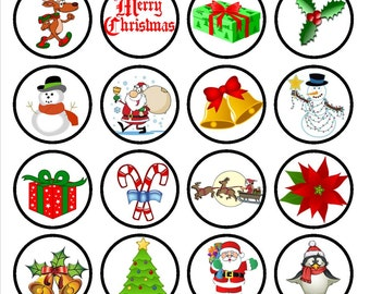 Christmas #1 Edible Wafer Rice Paper Cake Cupcake Toppers x 24 PRECUT