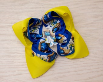 Smurfette Big Hair Bow - Texas Hair Bow - Smurfs Party - Smurfs Birthday Outfit - Smurfs Favor - Smurfette Boutique Bow - Extra Large Bow