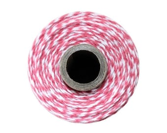 Pink and White Bakers Twine - Strawberry Twist - 240 Yard Spool