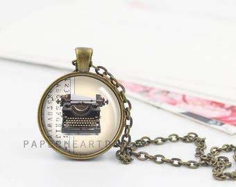 Typewriter Pendant - Typewriter Charm - Typewriter Jewelry - Typewriter Necklace - Writer Pendant - Writer Charm - Author Gift -  (B1968)