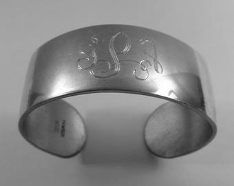 GPA initial Monogram Vintage Cuff Bracelet Silver Pewter Bangle with Victorian made by NEM or New England Metalcrafters USA