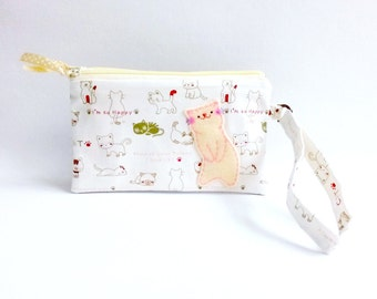 iPhone 6s Plus wristlet zipper clutch purse white cat fabric phone pouch cute wristlet wallet gift for cat lover for girlfriend iPhone 6