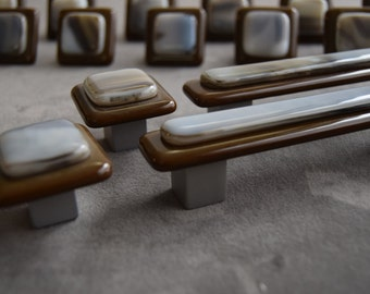Elegant and earthy, Layered style custom made knobs and pulls, 4 inch cc pulls, 1.5inch square knobs, made in USA custom glass hardware