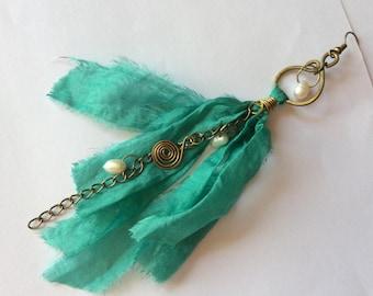 Freswater pearls earrings Green Teal silk tassel Earrings Fabric silk earrings Handmade recycled chiffon silk earrings