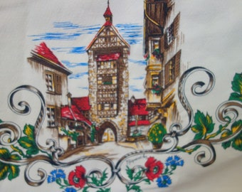 """Vintage French Printed Barkcloth 50s 60s Round Tablecloth 62"""", village scenes of Alsace, Made in France"""