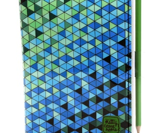 A6 Journal - Blue and green geometric triangles fabric