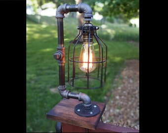 Cage Lamp - Lamp Desk Lamp Industrial Lamp Edison Light Table Lamp Vintage Pipe Lamp Loft Lighting