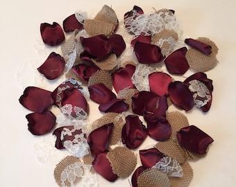 Burgundy Rose Petals/Rustic Petals/Burgundy Flower Girl Petals/Scatter Petals/Barn Wedding/Aisle Petals/Burgundy Petals