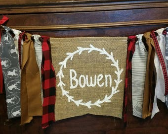 Custom Woodland Lumberjack Banner, Woodland Decor, Woodland Nursery Decor, Plaid Lumberjack Sign, Deer, Hunting, Outdoor, Wilderness Garland