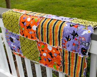 Throw Rag Quilt- Bright Halloween- Ready to Ship
