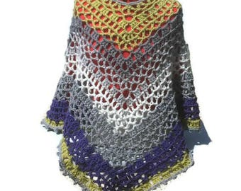 Sober and Elegant Poncho Shawl Wrap Hippie Bogo Poncho Retro Fashion Pattern Digital PDF File Only Is Not a Finished Product