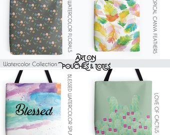 Watercolor Collection, Watercolor Totes, Floral Totes, Feather Tropical Totes, Art on Totes, Pattern Totes, Pattern Tote Bags, Beach Bags