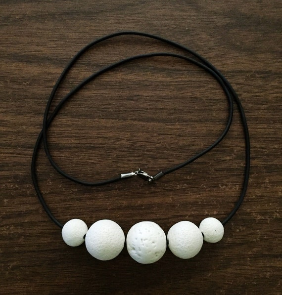 white bare porcelain bead statement necklace