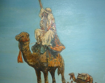 Art Deco period polychrome European Orientalist oil on panel signed LATEBBON 1930