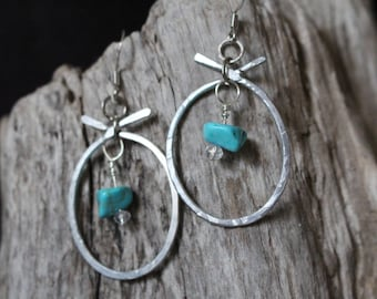 Turquoise Silver Hoops
