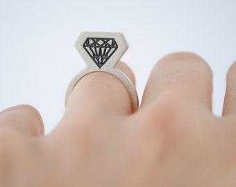 Silver ring, diamond silver ring, minimalist ring, diamond, vertical ring, contemporary jewelry, original rings