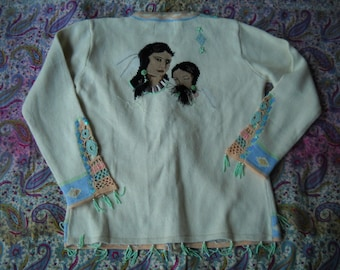 Storybook Knits Indian Princess Cardigan made of 55 Ramie and 45 cotton with aqua bead and crochet accent, Aztec Indian motif SZ Extra Small
