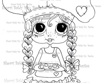 INSTANT DOWMLOAD Digital Digi Stamps Big Eye Big Head Dolls Digi  My Besties IMG051 By Sherri Baldy