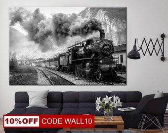 Black and White, Locomotive on canvas, Locomotive art, Train canvas print, Locomotive, Locomotive wheels, Train Illustration, Train art