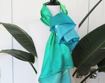 Super Soft Silk Bright Green and Blue scarf