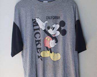 vintage mickey mouse heathered gray & black california disneyland t shirt