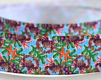 """7/8"""" Crab - Sea Life - Seaweed - Print Grosgrain Ribbon"""