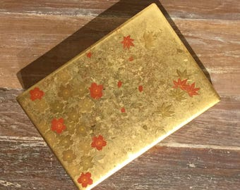 Beautiful Vintage Hakuichi Original Gold Leaf Lacquer Box Unique Japanese Gift Box with Flowers Japanese Black Lacquer Trinket Box