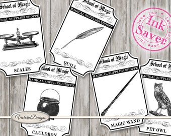 School of Magic Magical Supplies Shoppe Labels Printable Apothecary Labels Ink Saver instant download digital collage sheet - VDAPHA1644