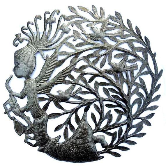 "Angel Mother Earth, Haiti, Recycled Metal Steel Barrel 23"" x 23"""