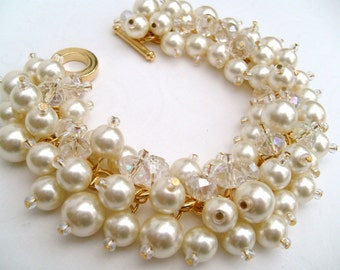 Bridal Jewelry, Wedding, Pearl Bridesmaid Bracelet, Cluster Bracelet, Pearl Bracelet, Ivory Pearl Jewelry - Bliss - Gold Plated