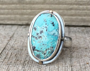 Four Directions Ring, Stormy Mountain Turquoise, Nevada Turquoise, American Turquoise, Sterling Silver, 14K Gold, Size US 6, Statement Ring