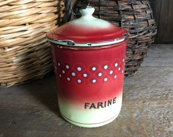 French Enamel Farine Canister, Kitchen Storage, Chippy, French Country Farmhouse Decor