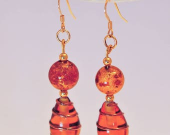 Color amber Murano glass earrings
