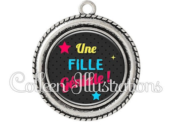 Pendant cabochons 25mm a great girl - series 4