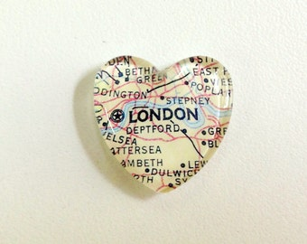 NEW Vintage Map Magnet - Heart Shape - London