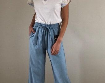 raw silk pants / drawstring pants / lounge pants / high waisted pants / blue silk pants | s m l