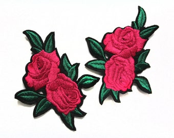 3 Hot Fix Iron On Embroidered Roses Patches Patches Appliques
